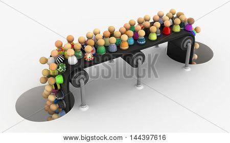 Crowd of small symbolic figures conveyor 3d illustration horizontal