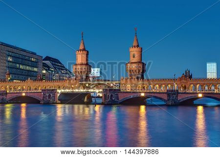 The famous Oberbaumbridge in Berlin at night