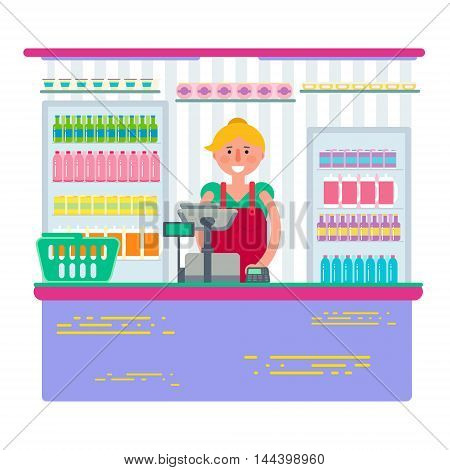 Pretty female working as cashier in shop or supermarket. Woman retail seller at checkout in store. Vector illustration design isolated on white background.