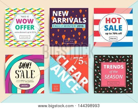 Set of creative social media banners design for online shop or store. Trendy vector ad sale or clearance bright geometric backgrounds