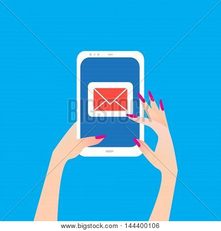 Women's Hand holding smart phone with email symbol on the screen. Message send on mobile phone. Email marketing. Finger touch screen for banner web site. Flat style vector illustration