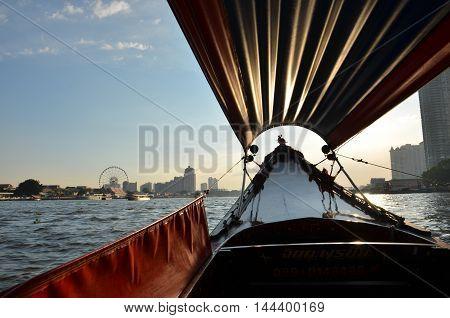 Sunset, Boat ride in Chaopraya river, Bangkok, Thailand