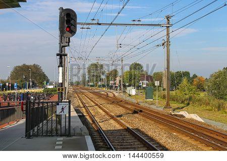 Amsterdam the Netherlands -October 03 2015: Traffic light on the platform of Amsterdam Central Station