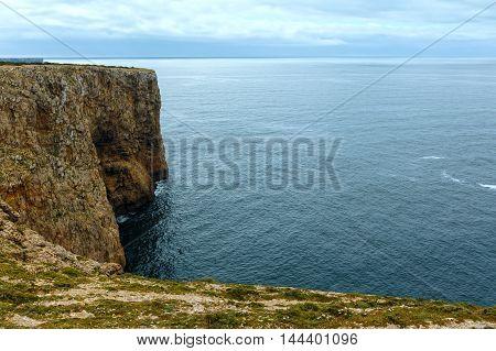 Atlantic Ocean Rocky Coast Landscape, Algarve, Portugal.