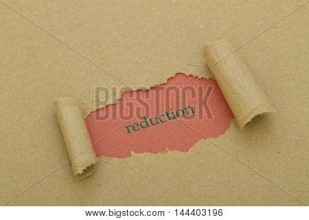Reduction word written under brown torn paper