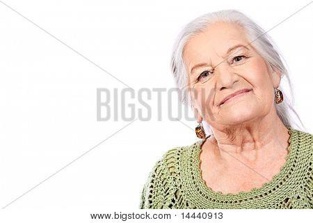 Porträt einer lächelnden senior Woman. Isolated over white Background.
