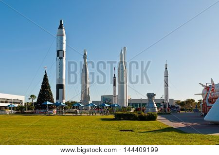 Cape Canaveral FL USA - November 22: Christmas tree at the Rocket Garden at Kennedy Space Center Visitor Complex at November 22 2011 in Cape Canaveral Florida.