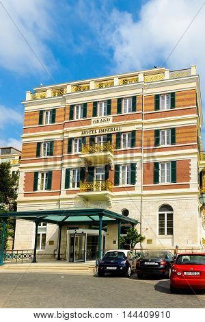 DUBROVNIK. CROATIA - AUG 21, 2014: Hotel Hilton Imperial in Dubrovnik, Croatia. Hotel is located near the the Pile Gate of the Old Town Of Dubrovnik. The hotel is built over a century ago
