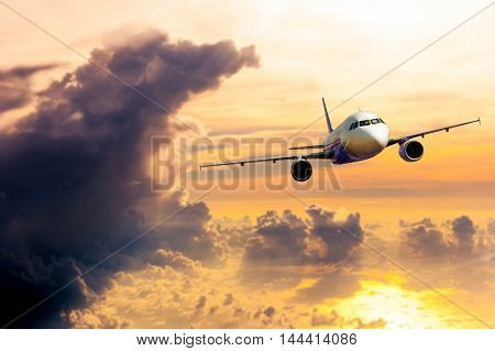 Airplane With Background Of Cloudy Sky In Golden Time, Exploration Conceptual