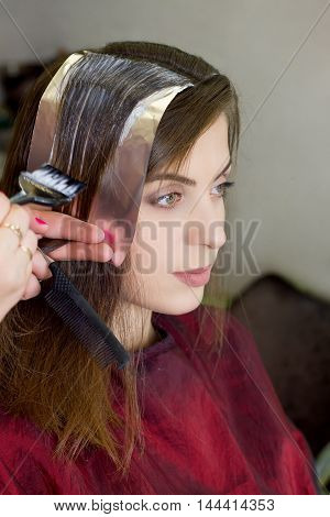 Girl In Hair Dressing Saloon. Process Of Dyeing Hair