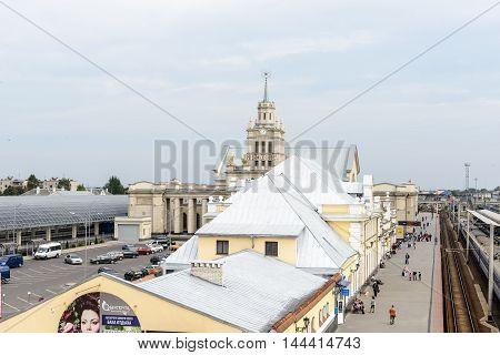 BREST, BELARUS - AUG 30, 2014: Central Railway station in Brest, Belarus. Brest railway station was found in 1886