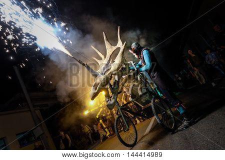 Pontedera Italy - July 14 2016: The Avalot Fire show in Viale Rinaldo Piaggio in Pontedera Tuscany at the Portuguese association Centrum Sete Sois Sete Luas