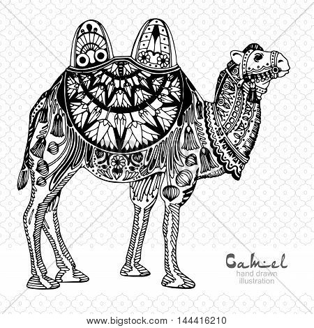 Silhouette of camel, decorated with arabic pattern, black and white illustration