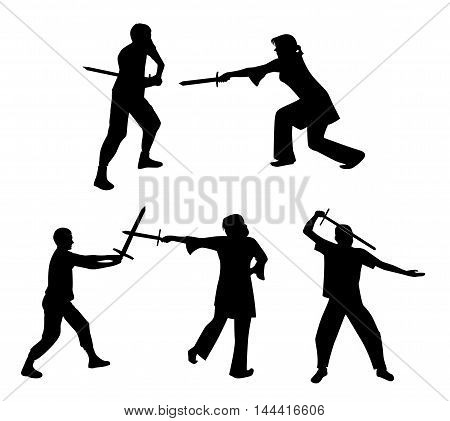 A set of silhouettes of people fighting with swords. Vector illustration