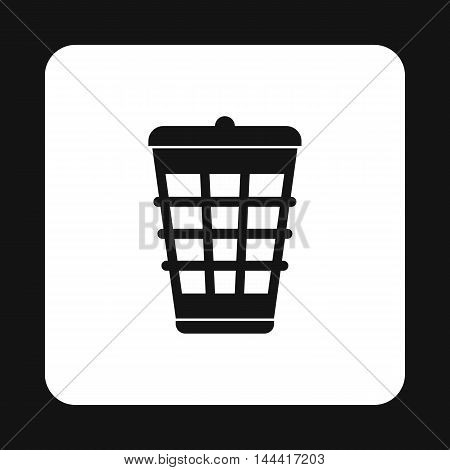 Dustbin for garbage icon in simple style isolated on white background. Sanitation symbol