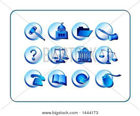 Legal Icon Set - Blue
