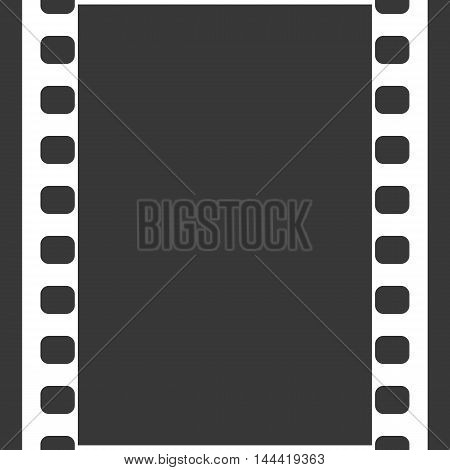 Vector 35 mm Film Strip Illustration on black background. Abstract Film Strip design template. Film Strip Seamless Pattern with ribbon banner text.