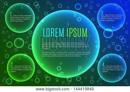 Abstract background with multiple bright colored bubbles