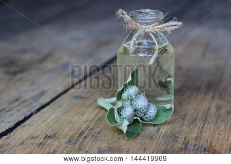 Glass jar with thistle oil on the background of wooden boards