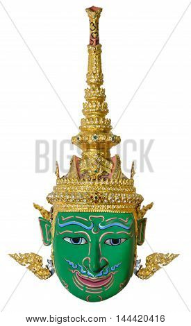 Green actor's mask used head wear for staging isolated on white background The traditional culture pantomime in Thailand