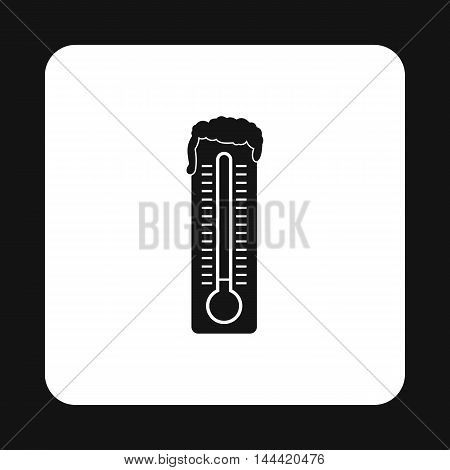 Thermometer with low temperature icon in simple style isolated on white background. Measurement symbol