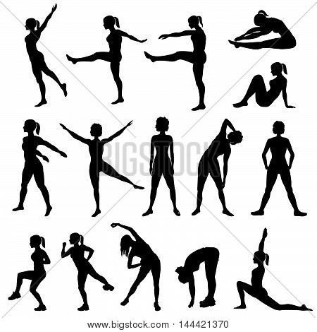 Elegant women silhouettes doing fitness exercises. Fitness club icon set fitness exercises concept. Girls gym training vector illustration isolated on white background