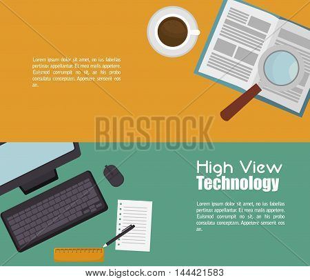 high view technology icon vector illustration graphic