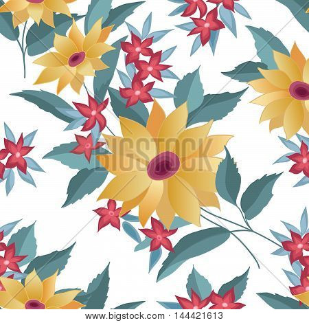 Flower bouquet seamless pattern. Summer flourish ornamental texture. Blooming flowers  posy background