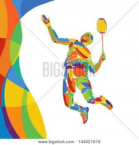 Abstract colorful pattern with Badminton Player. Summer colors - Green, orange, yellow, blue. Sport background for design advertising. Eps8 stock vector