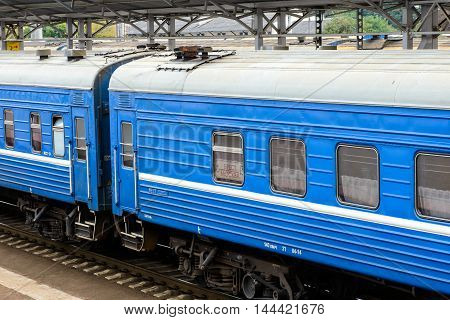 BREST, BELARUS - AUG 30, 2014: Trains at the Central Railway station in Brest, Belarus. Brest railway station was found in 1886