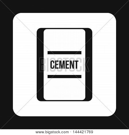 Bag of cement icon in simple style isolated on white background. Building material symbol