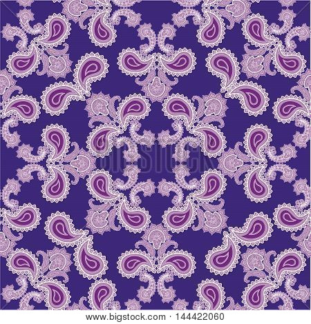 Flourish seamless pattern. Abstract floral geometric background. Fantastic flowers  motif ornament