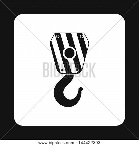 Hook icon in simple style isolated on white background. Hoist symbol