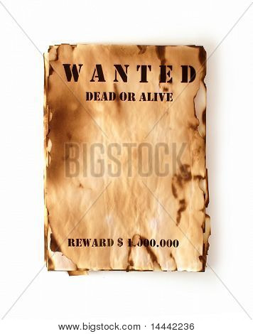 Wanted retro poster in vintage style isolated on white