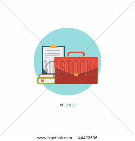 usiness icon. Creative concept of professional training. Financial report. Flat design, minimalist style, modern colours - limpet shell. Vector illustrations for web, banners, infographics, app
