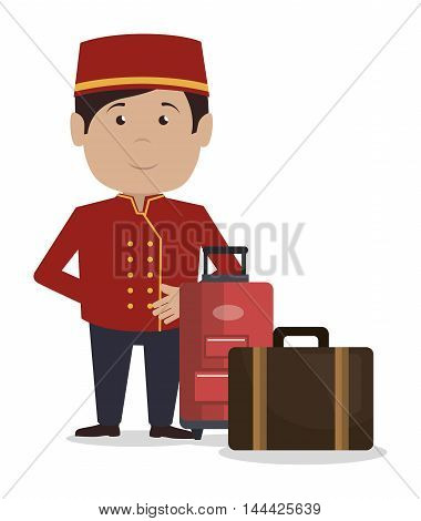 bellboy service hotel isolated icon vector illustration design