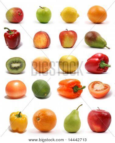 Conjunto de diferentes frutos sabrosos brillantes aislado en blanco