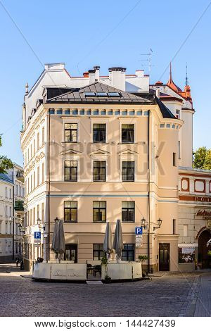 RIGA, LATVIA - SEP 7, 2014: Architecture of the Old Town of Riga. Riga's historical centre is a UNESCO World Heritage Site