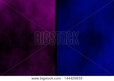 Illustration of purple and dark blue divided smoky background