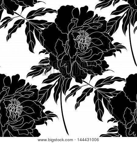 Seamless flower background, seamless pattern, black flower, decorative flower, decor flower, filigree flower, vintage flower, scroll flower, peony flower, ornament flower. Vector.