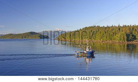 Early Morning Fishing Boat on the Inside Passage near Juneau Alaska