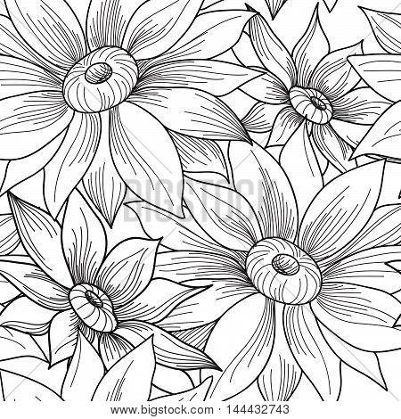 Floral Seamless Pattern. Flower Sunflower Swirl Background. Flor