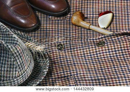 Vintage Tweed Background Hat Shoes Portmone And Lights