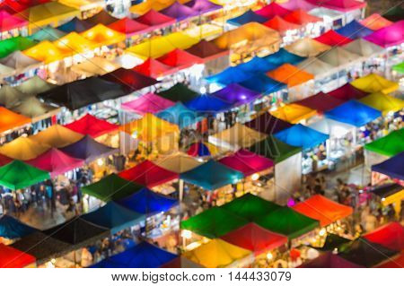 Aerial view multiple colours rooftop flea market or night market