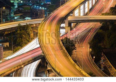 Aerial view highway interchanged long exposure night view