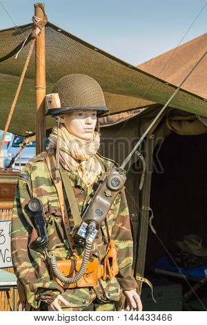 Mannequin Dressed In Military Front Of A Tent