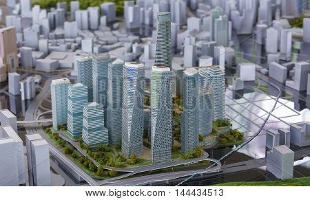 KUALA LUMPUR MALAYSIA - AUGUST 10 2016: Scale model of a city showing the project of Tun Razak Exchange (TRX).