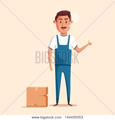 Bad worker in uniform. Cartoon vector illustration. Relocation. Move. Character design. Transport company. Box in hand. Angry loader