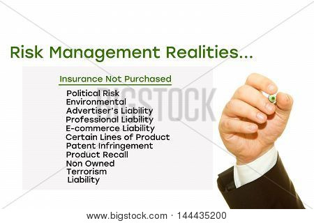Hand writing Risk Management Realities on a transparent wipe board. Insurance not purchased: Political risk, environmental, Advertisers Liability, Professional Liability, E-commerce Liability.