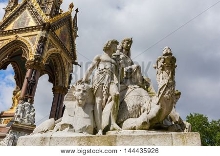 Egyptian themed scuptures at the Albert Memorial in London UK at Kensington Gardens in memory of Prince Albert who died of typhoid in 1861 poster